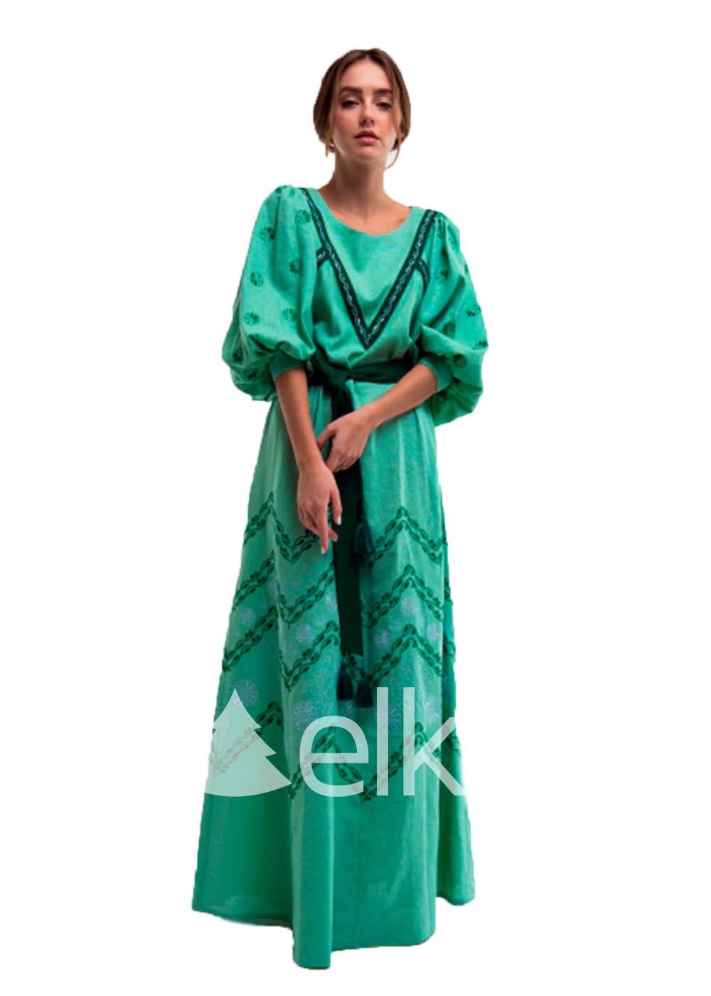 Платье вышиванка зеленое