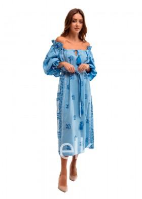 Платье вышиванка голубое