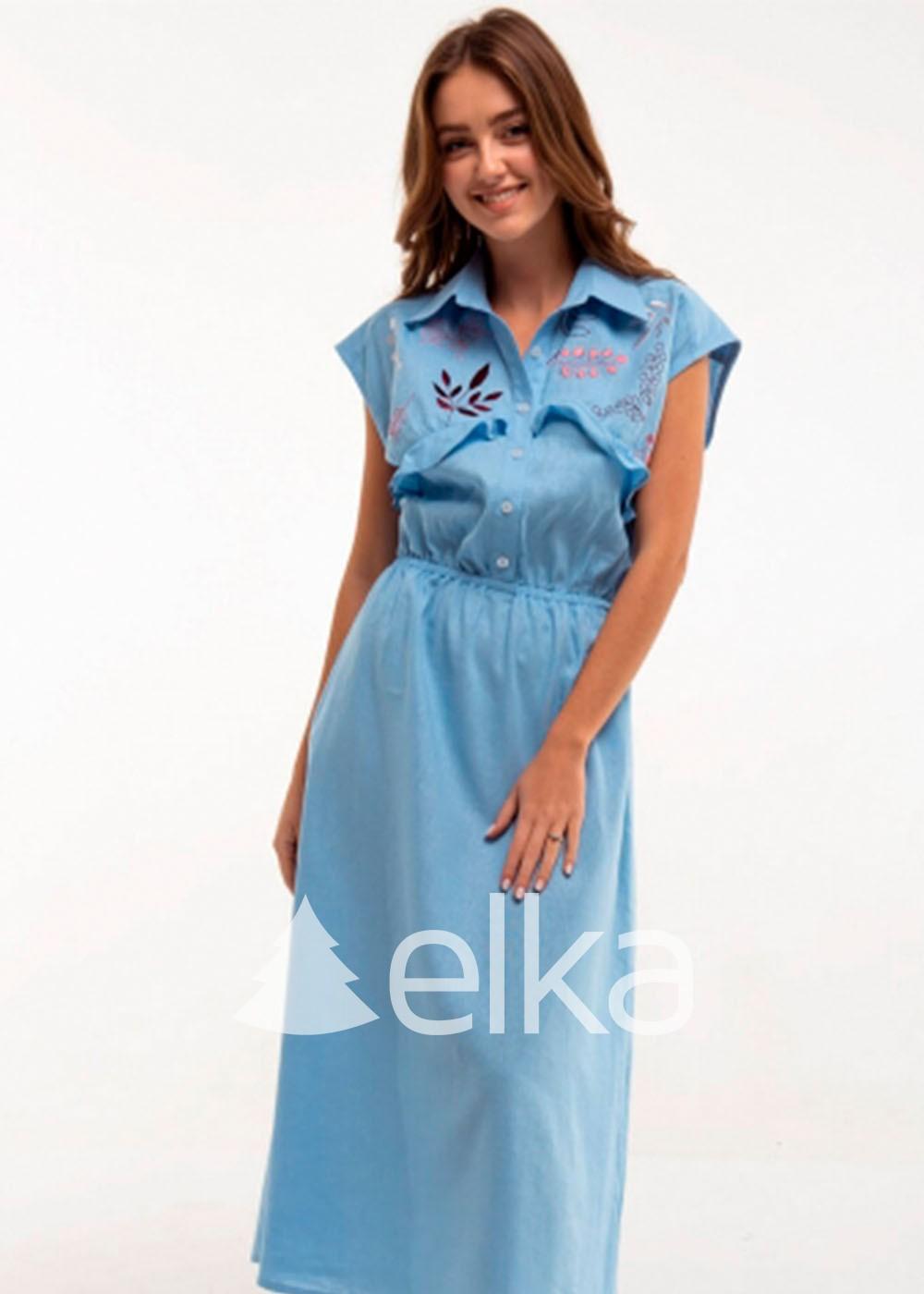 Платье вышиванка Голубое Соцветие