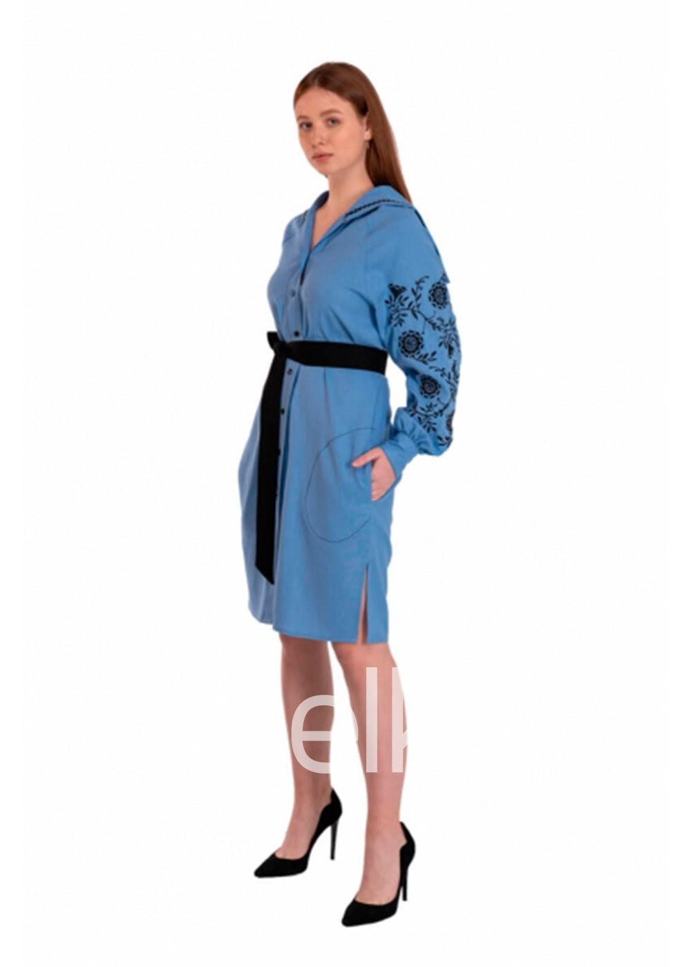 Платье вышиванка Голубая Рута
