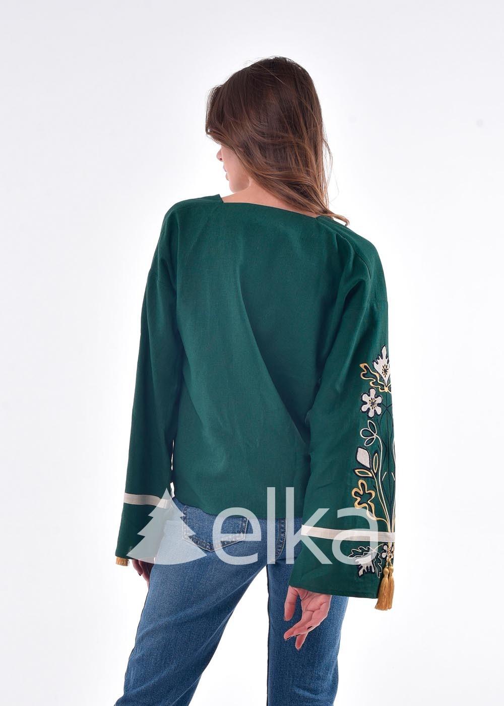 Вышиванка женская темно-зеленая