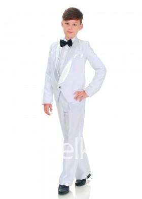 Классический белый костюм смокинг