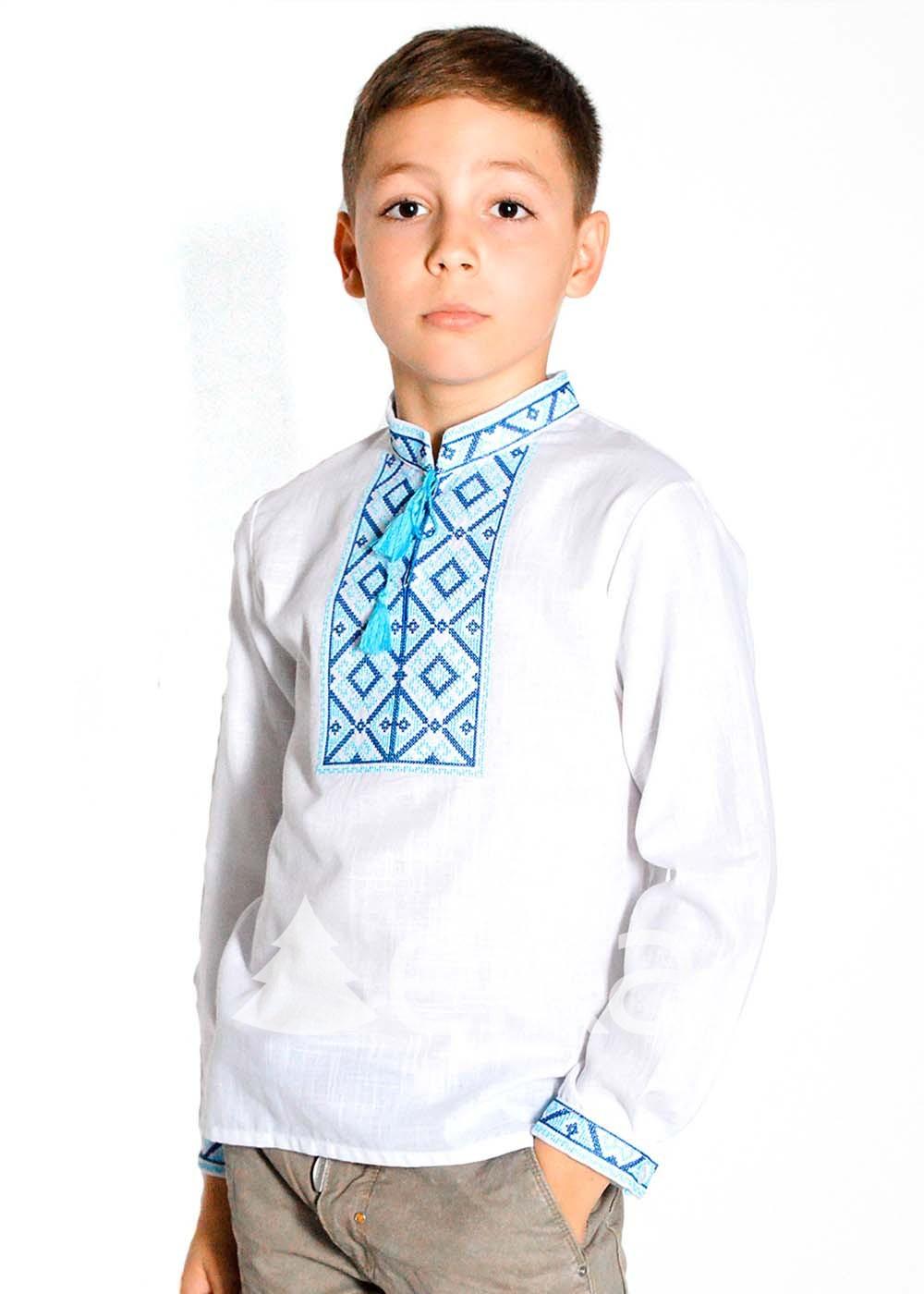 Детская вышиванка для мальчика Ромбы