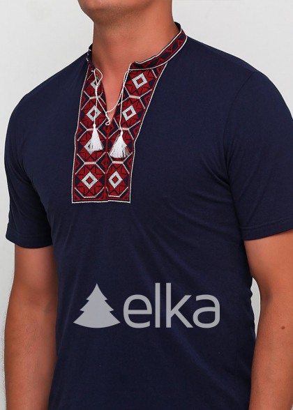 Мужская вышитая футболка Ромбы