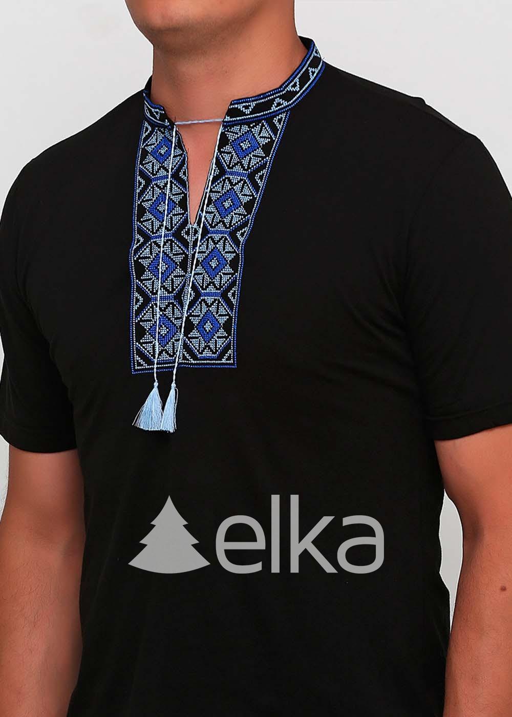 Мужская вышитая футболка черная Ромбы