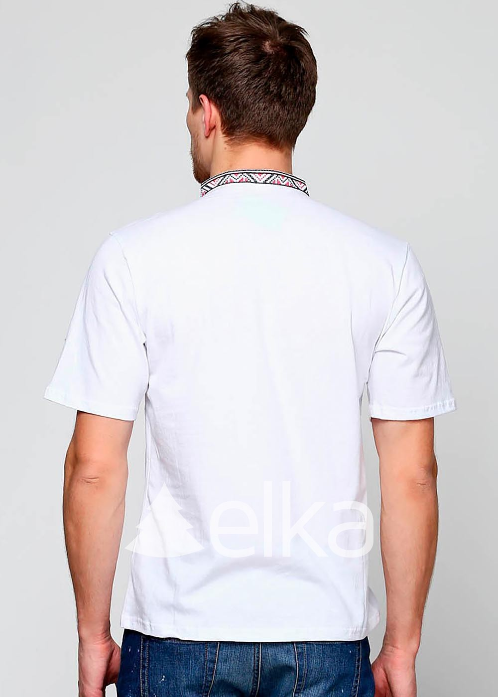 Мужская вышитая футболка Народная белая