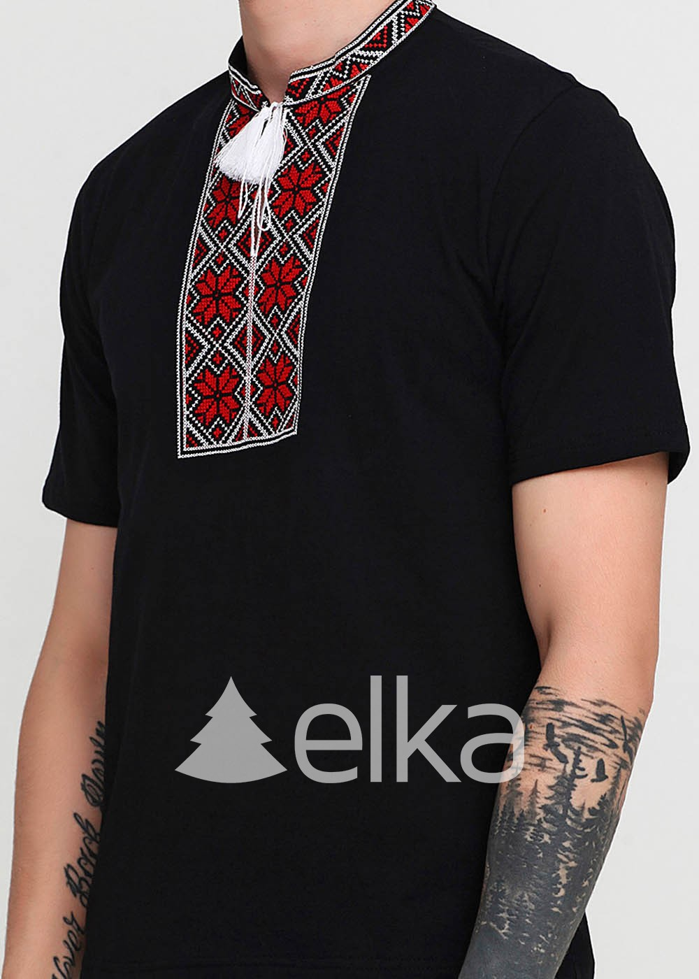 Мужская вышитая футболка Народная черная