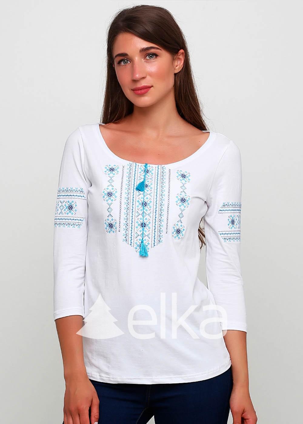 Вышиванка женская белая классическая вышивка