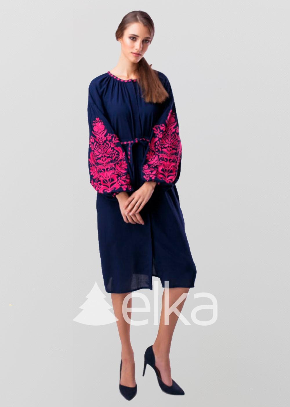 Платье вышиванка Дерево жизни синее