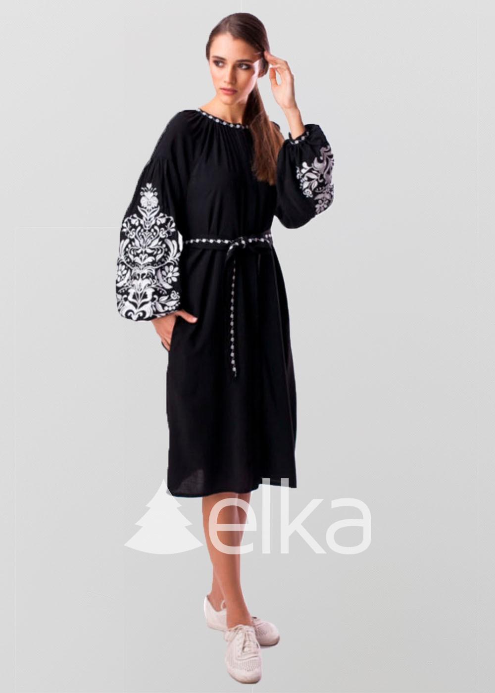 Платье вышиванка черное Дерево жизни