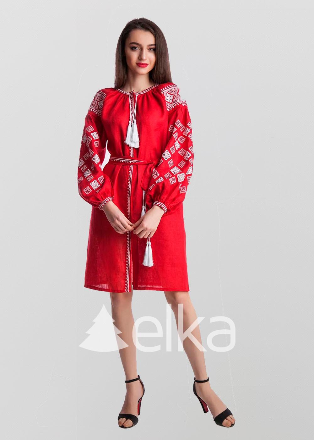 Платье вышиванка Окошко красное