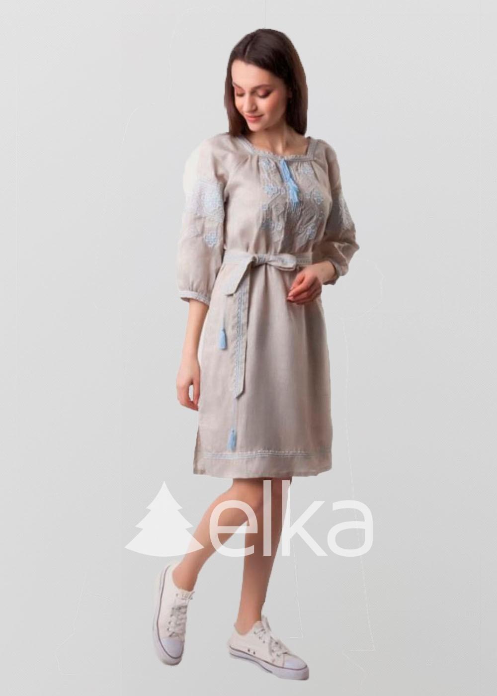 Платье вышиванка Окошко голубая вышивка