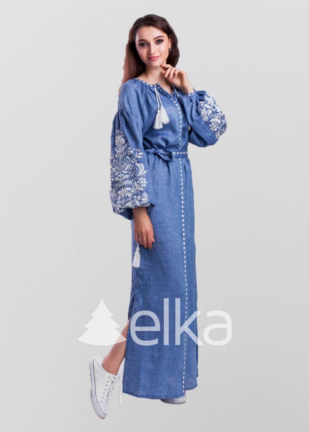 Платье вышиванка Дерево жизни джинс