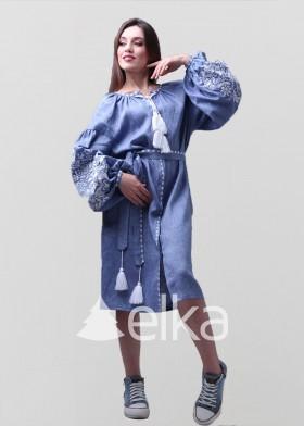 Платье вышиванка джинс