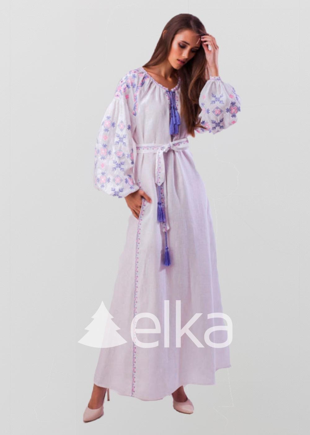 Платье вышиванка цвета папороти
