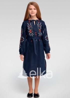 Вышитое платье для девочки синее
