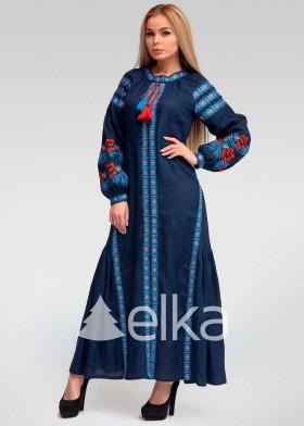 Платье вышиванка синее