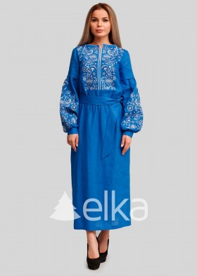 Платье вышиванка голубая