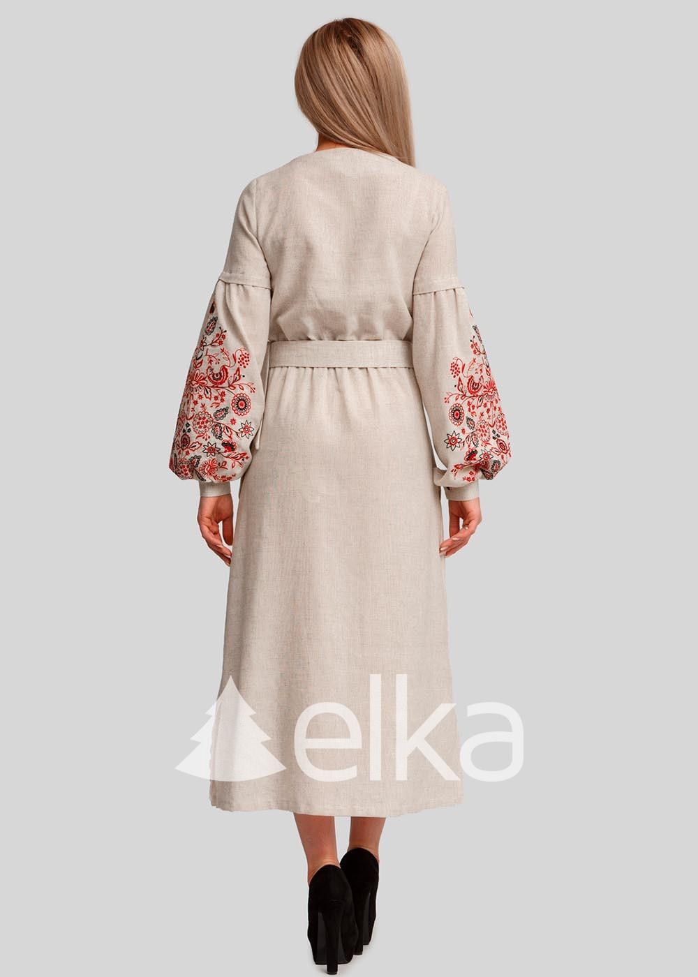 Платье вышиванка бежевое
