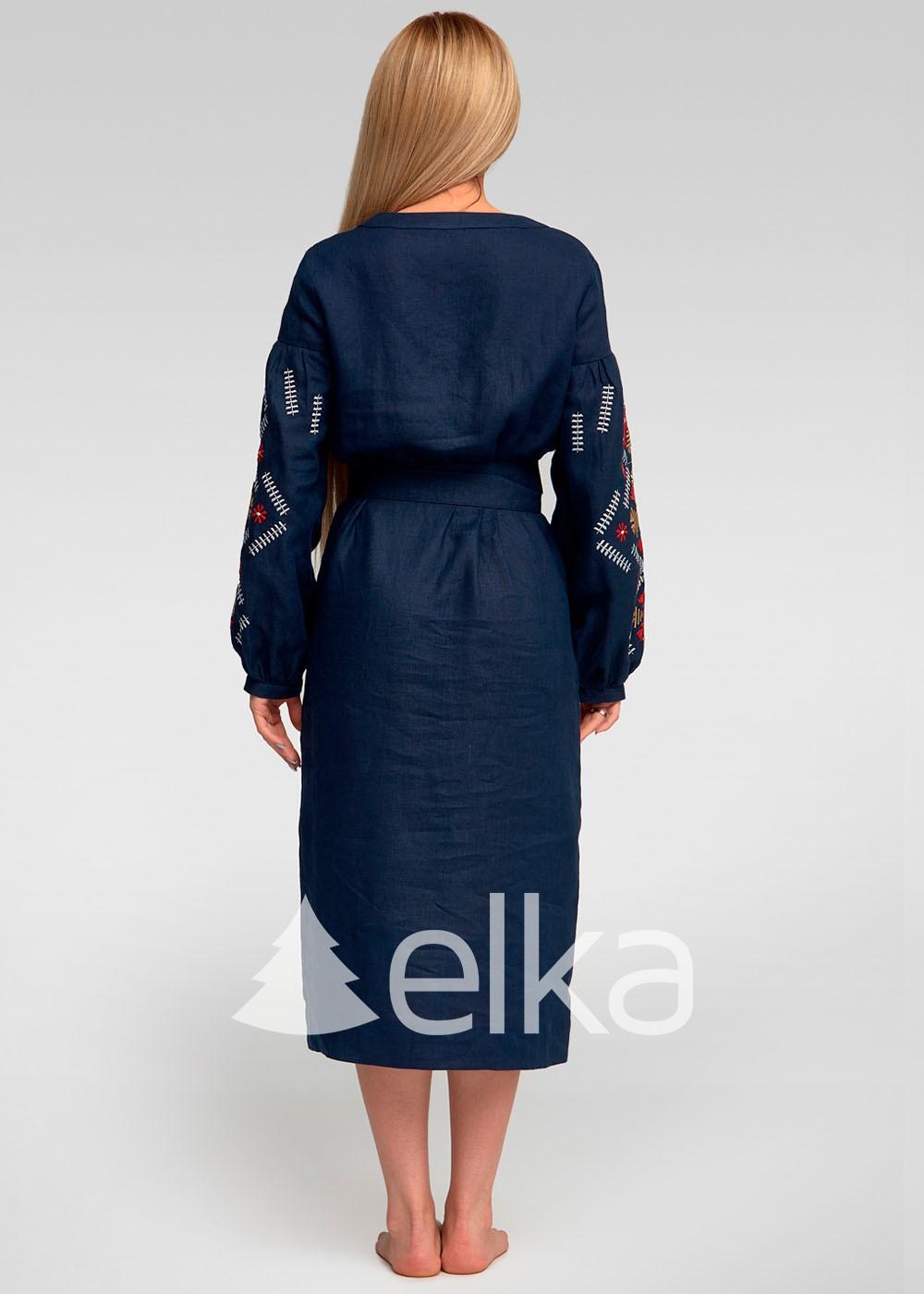 Платье вышиванка темно-синее