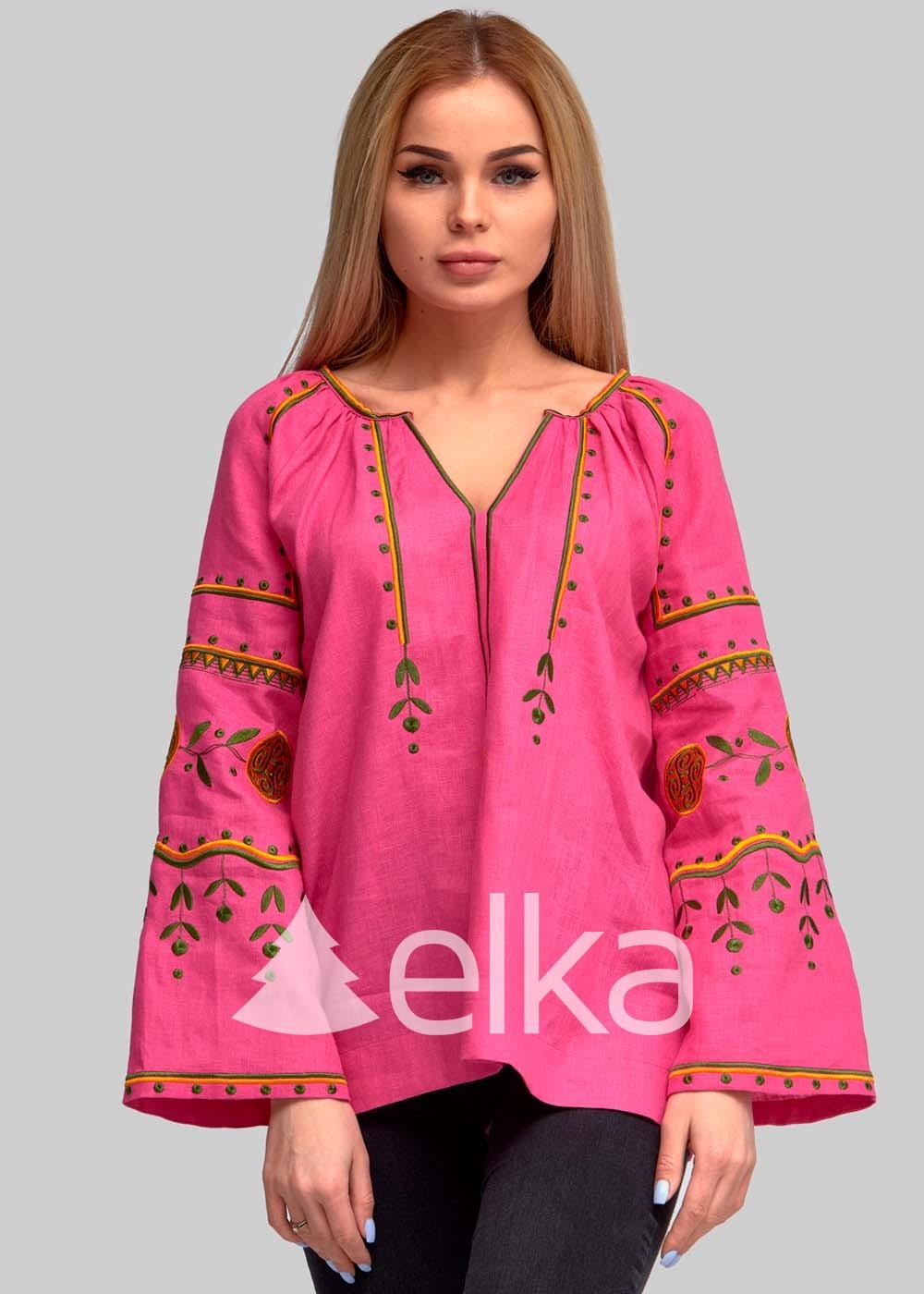 Вышиванка женская ярко-розовая