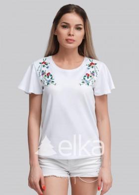 Вышитая женская футболка Акцент белая