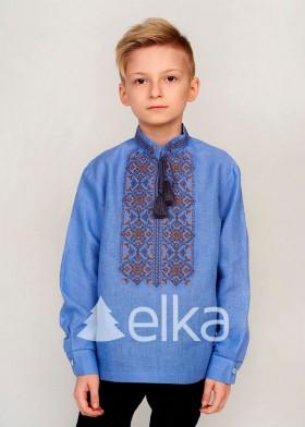 Детская вышиванка для мальчика голубая