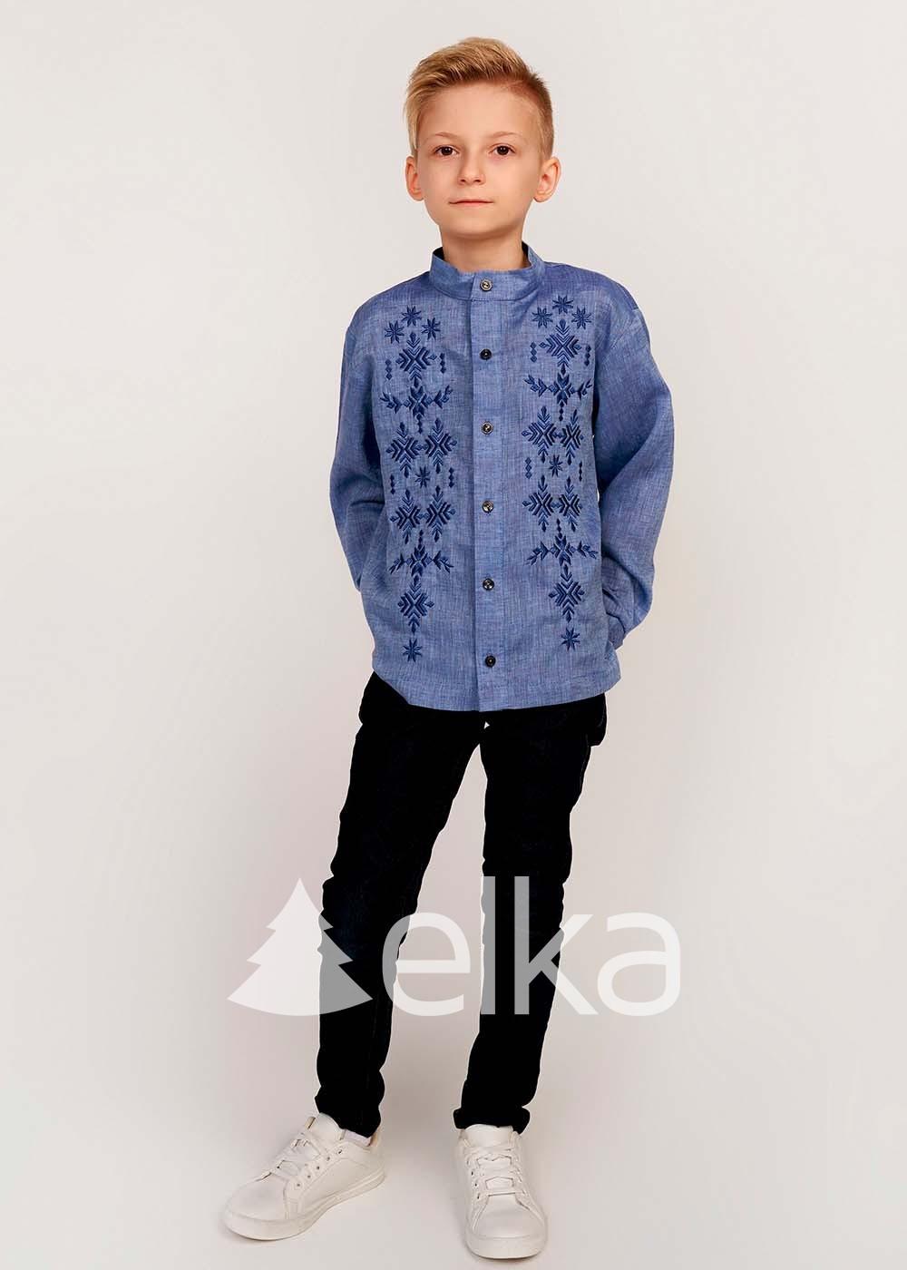 Детская вышиванка для мальчика джинс