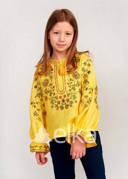 Детская вышиванка для девочки желтая