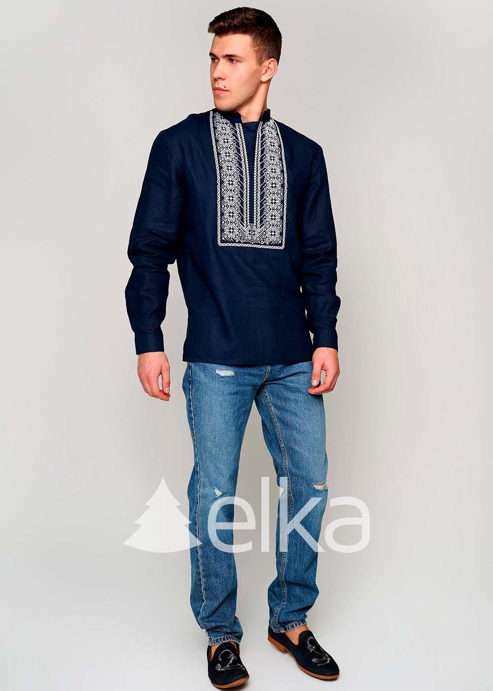 Мужская вышиванка Оберег синяя