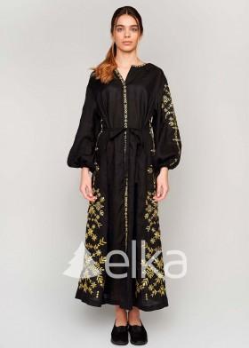Платье вышиванка с золотой вышивкой