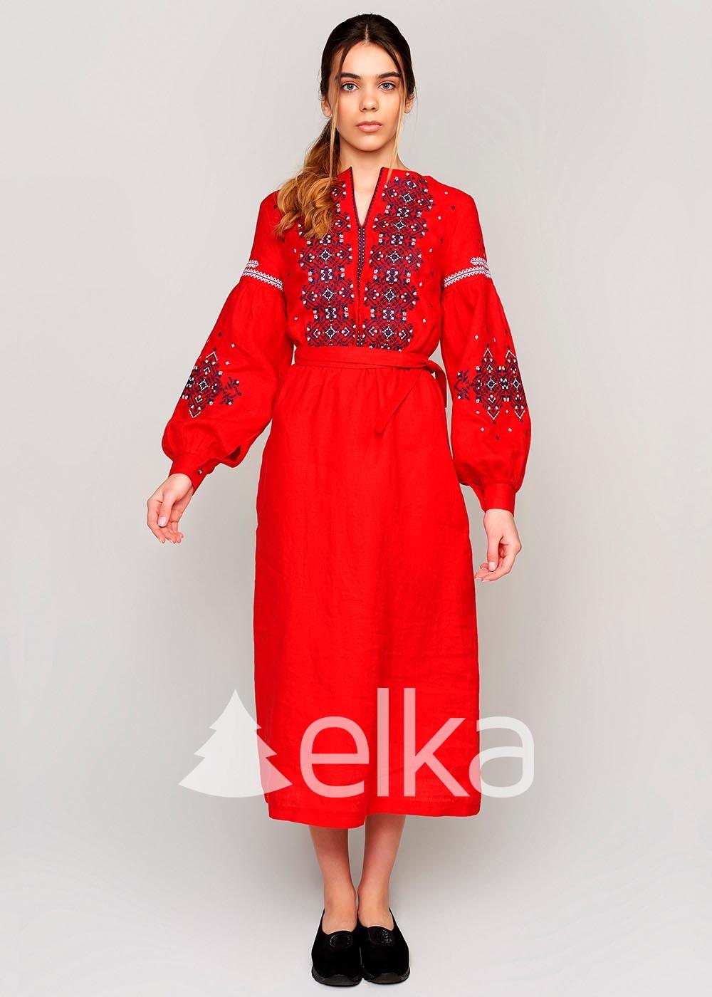 Платье вышиванка красное