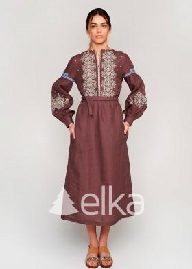 Платье вышиванка коричневая