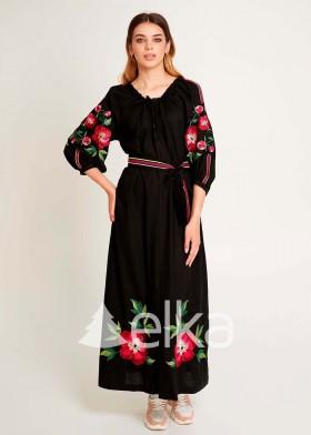 Платье вышиванка Пион