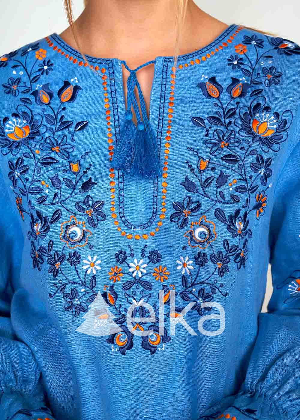 Вышиванка женская голубая