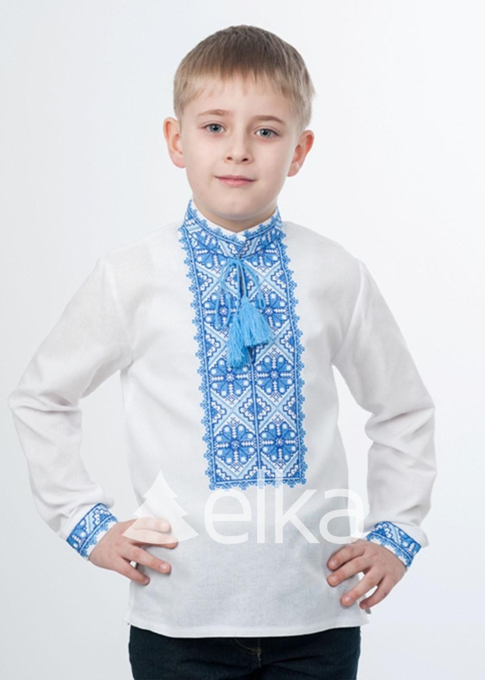 Детская вышиванка синий орнамент