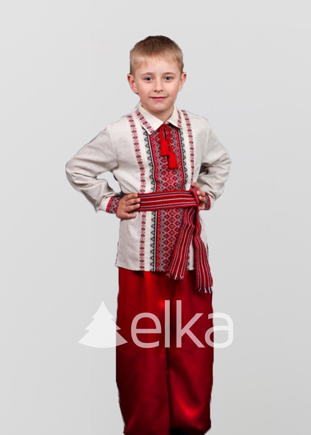 Детская вышиванка красный узор