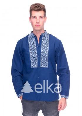 Синяя мужская вышиванка