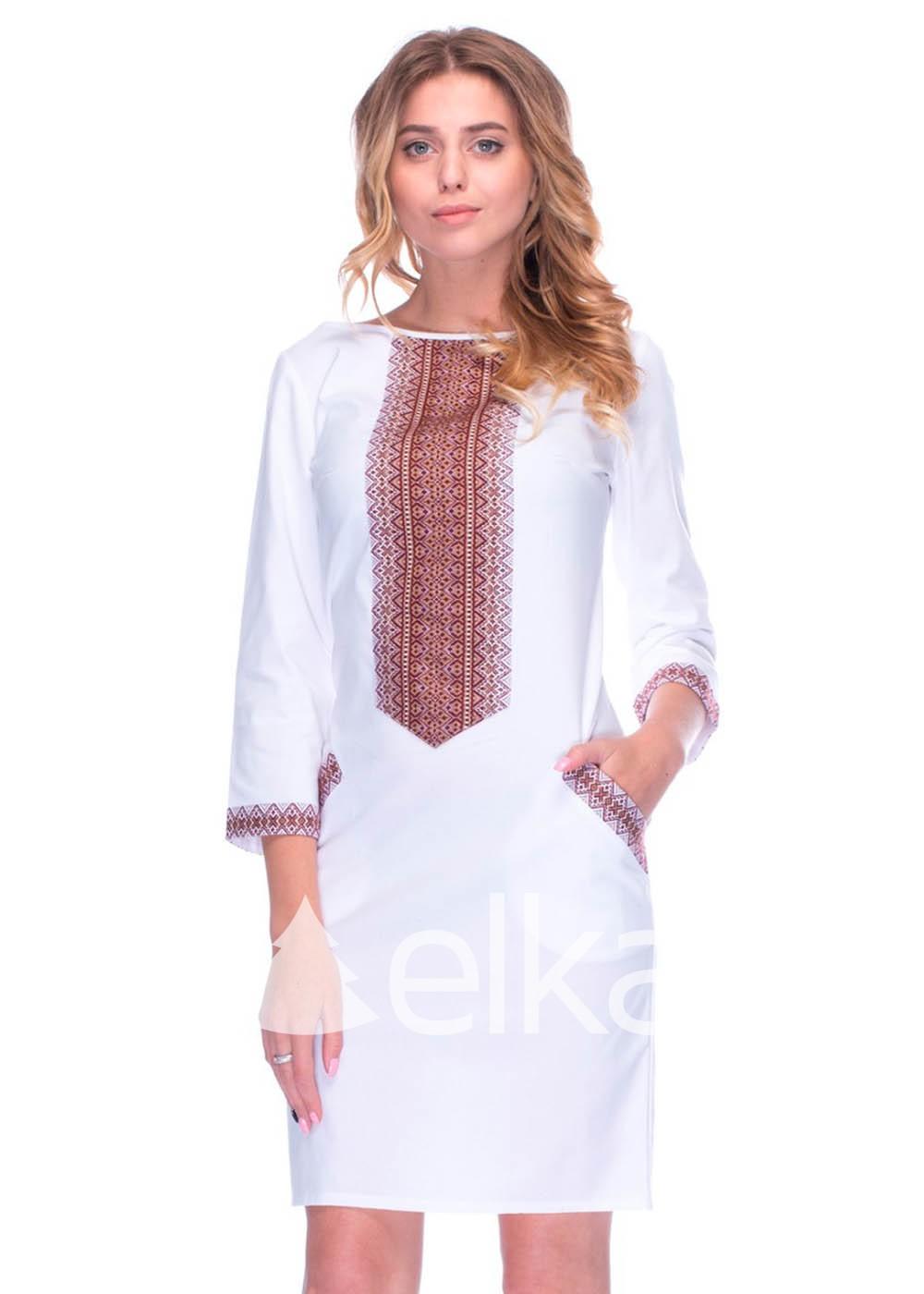 Платье вышиванка белое