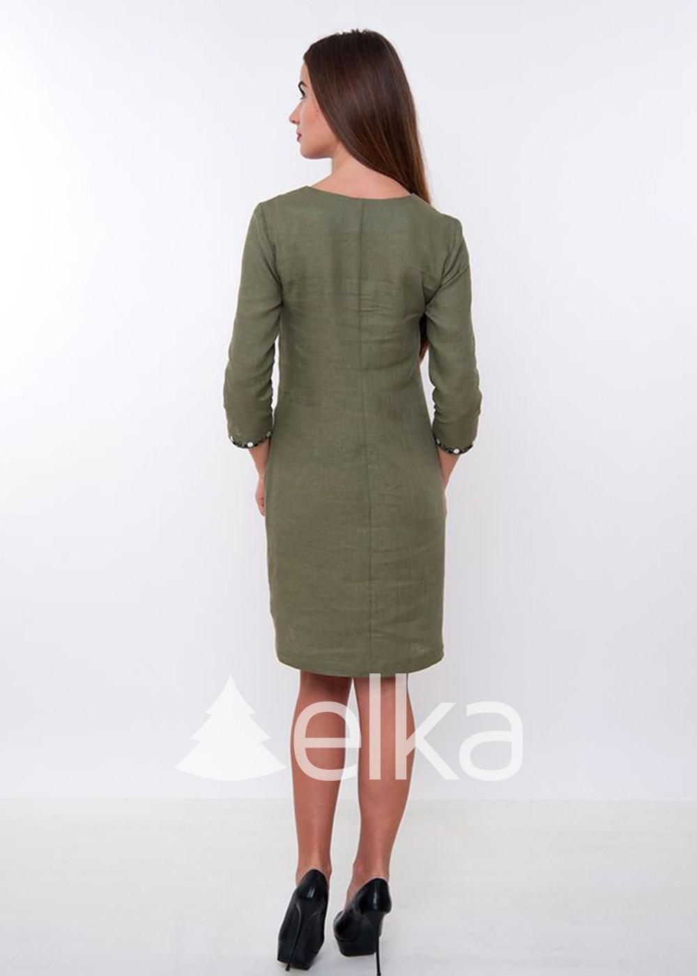 Платье вышиванка оливковое