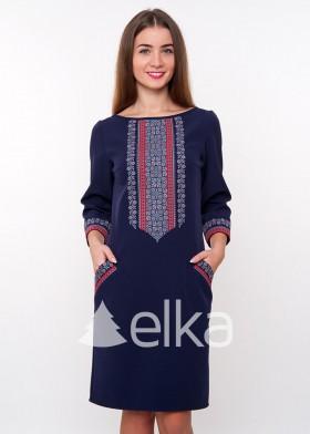 Синее платье вышиванка