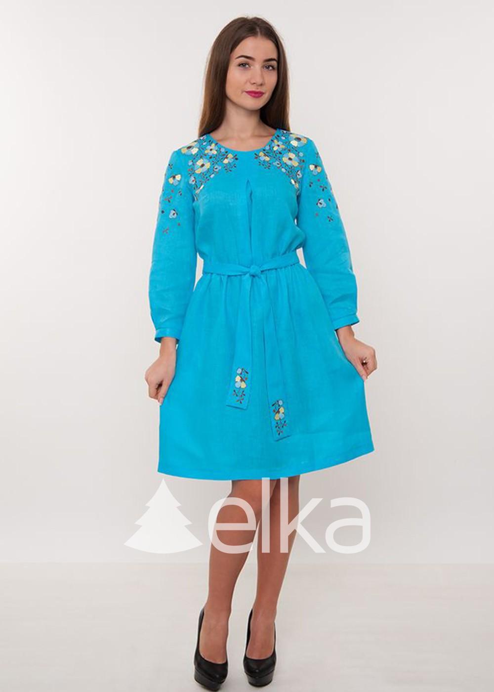 Платье вышиванка бирюзовое