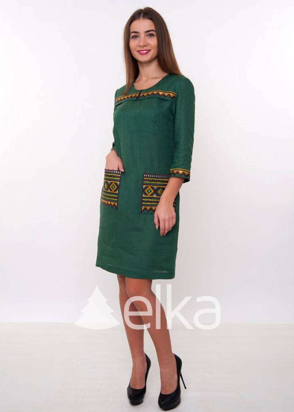 Платье вышиванка темно-зеленое