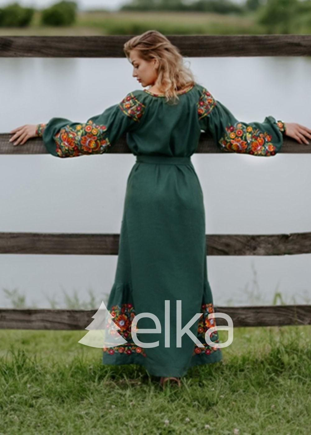 Платье вышиванка длинное