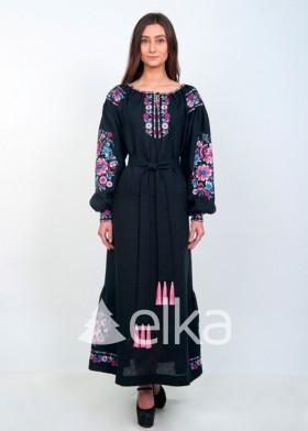 Платье вышиванка длинное черное
