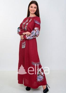 Платье вышиванка длинное бордо