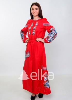 Платье вышиванка красное длинное