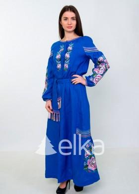 Платье вышиванка сиреневые цветы