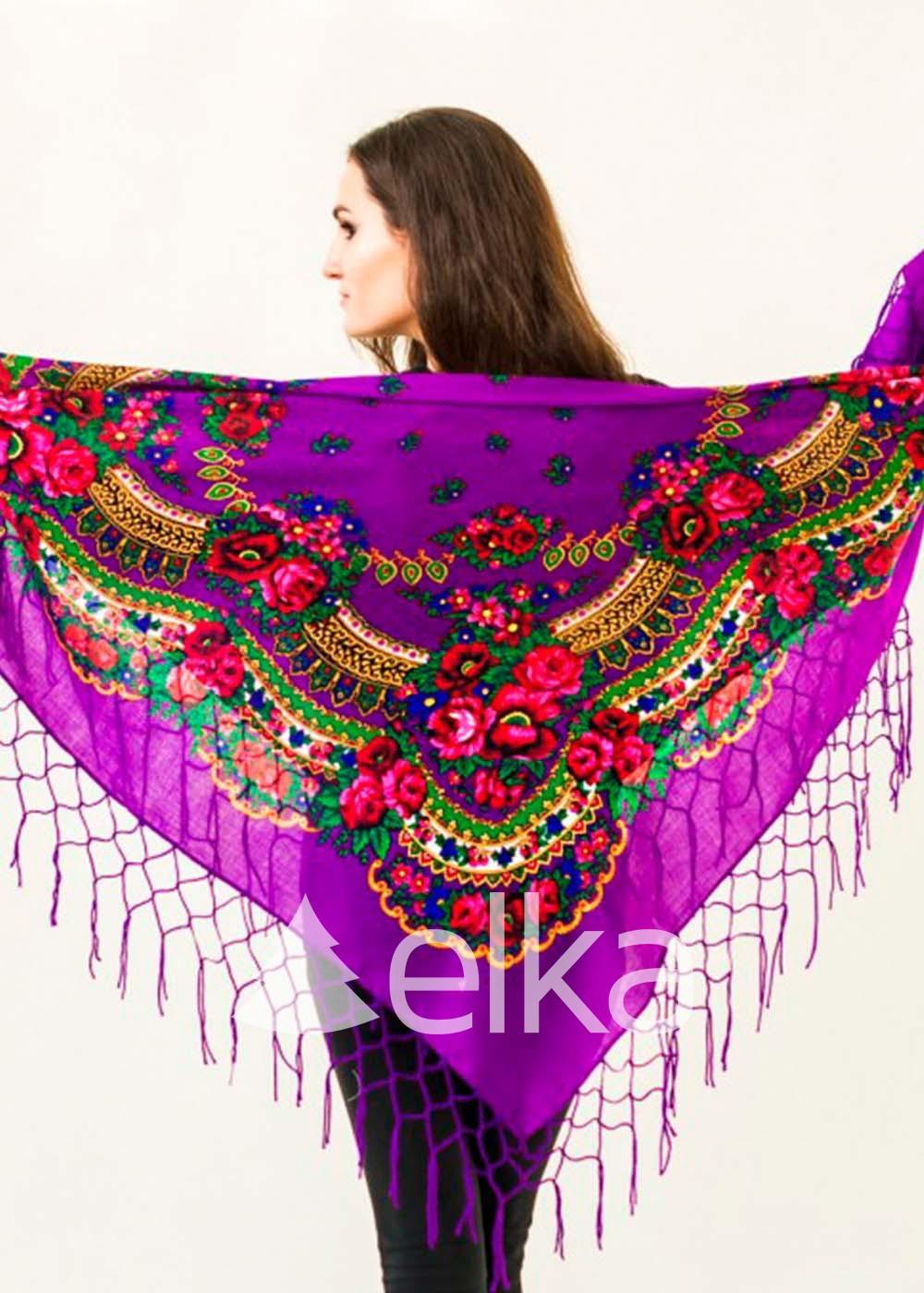Платок Украинский фиолетовый