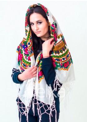 Платок Украинский белый люрекс